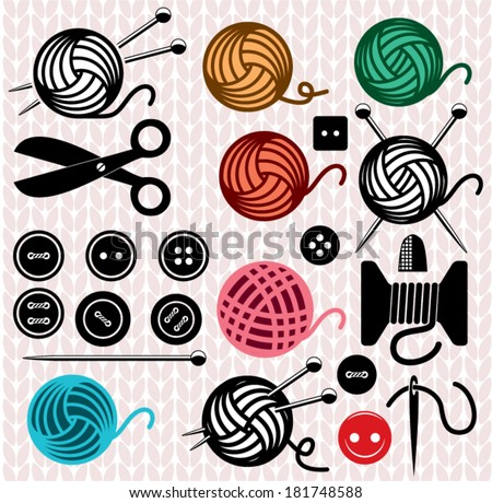 vector yarn balls and sewing equipment icons - stock vector