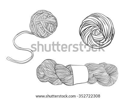 Vector yarn balls set.  - stock vector