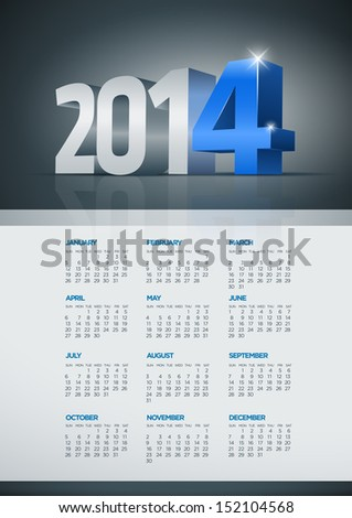 Vector 2014 year calendar. Elements are layered separately in vector file. Easy editable. - stock vector
