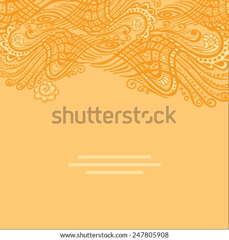 Vector yellow abstract invitation card with abstract wave. Lace ornament. Template wavy frame design for card - stock vector