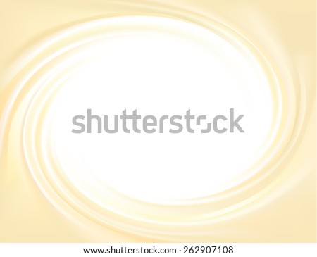 Vector yellow backdrop of swirling creamy texture with glowing white center in middle of funnel  - stock vector