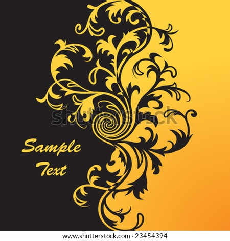 Vector. Yellow & black  floral background