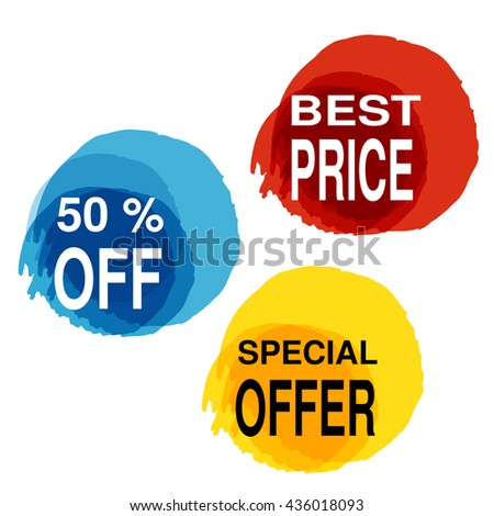 Vector yellow, blue and red blot with business text. Button with 50% off, best price, special offer.