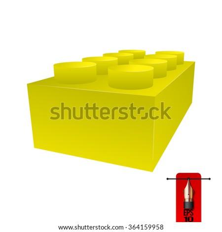 Vector yellow brick for construction kits - stock vector