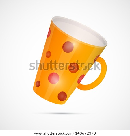 Vector Yellow Cup With Red Dots Isolated on White Background - stock vector