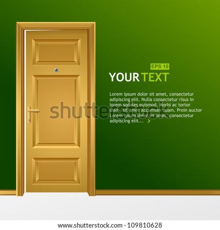 Vector yellow door in the green wall for text - stock vector