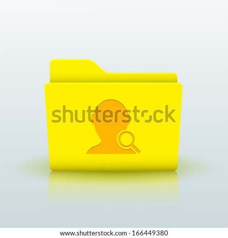 Vector yellow folder on blue background. Eps10 - stock vector