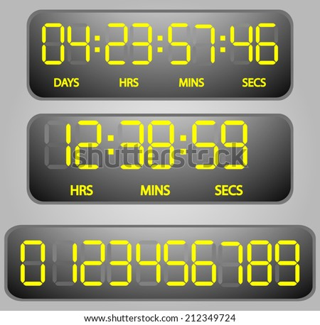 vector Yellow glowing digital numbers - countdown timer  - stock vector
