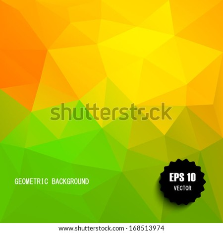 Vector yellow / green modern geometric background. Abstract background for design - vector illustration EPS10. Retro pattern of geometric shapes. - stock vector