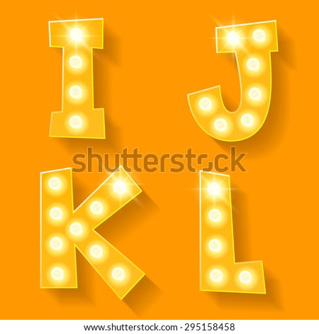 Vector yellow lamp alphabet for theatre, cinema and other entertainment. Letters I J K L - stock vector