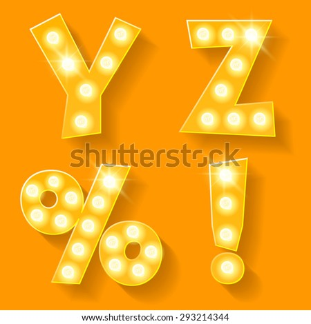 Vector yellow lamp alphabet for theatre, cinema and other entertainment. Letters Y Z and symbols - stock vector