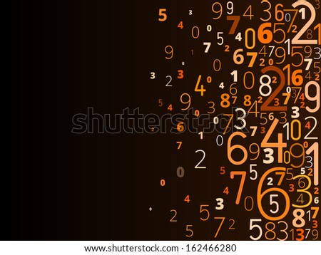 Vector yellow orange background  from different numbers typography from right - stock vector