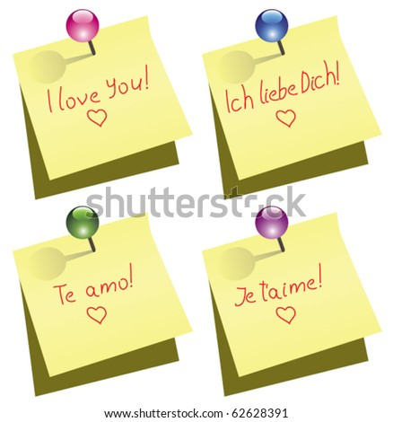 Vector Yellow Paper Note With Push Pin And I Love You Words In English German