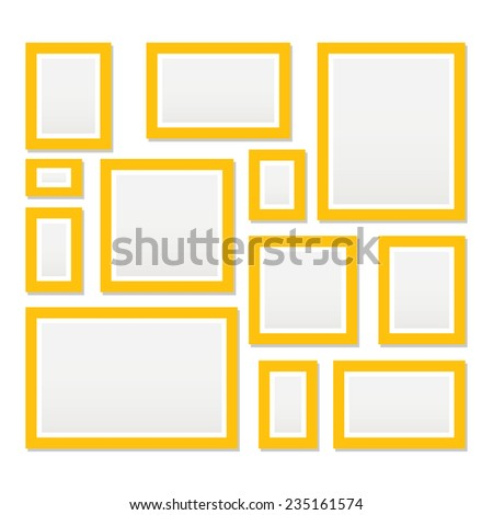 Vector yellow picture frame for photo art gallery. - stock vector