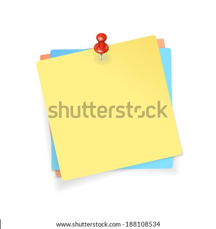 Vector Yellow, red, blue stickers and red pin background - stock vector