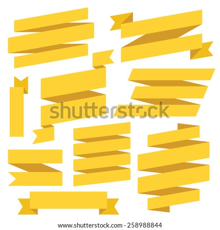 Vector yellow ribbons set. Isolated on white background. - stock vector