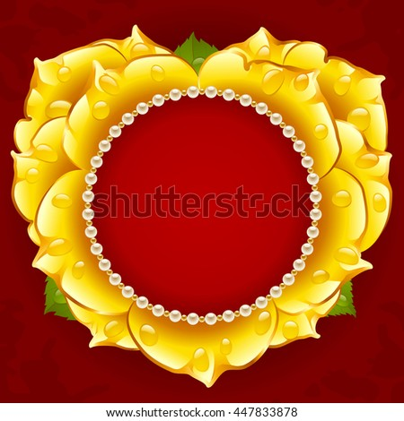 Vector yellow Rose heart frame with pearl necklace