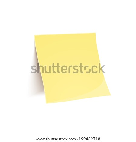 Vector yellow stick note isolated on white background in realistic style