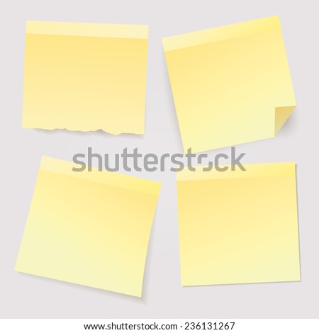 Vector yellow stick notes.