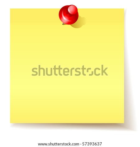 vector yellow sticky  paper - stock vector