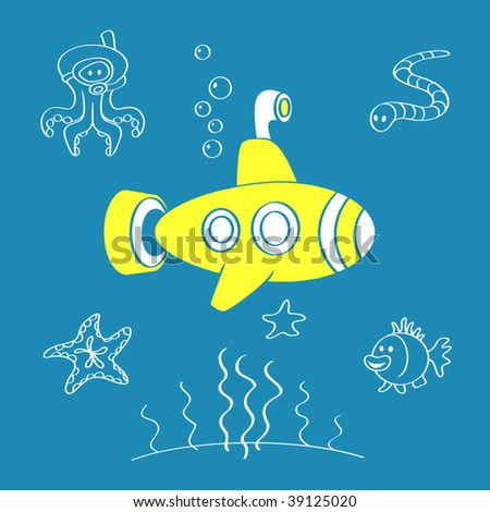 Vector Yellow Submarine - stock vector