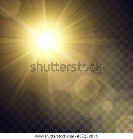 Vector Yellow Sun With Light Effects Rays Hotspots Halo And Flares On Transparent
