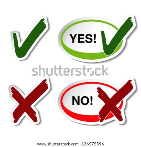 Vector yes no button - check mark symbol