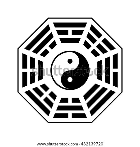 "Vector Yin and yang symbol. Modern yin-yang symbol isolated on white background. King Wen ""Later Heaven"" bagua arrangement"