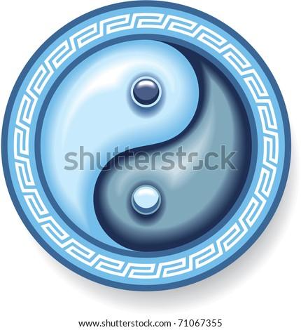 Vector Ying Yang Symbol in Blue Colors (Oriental Harmony Symbol) - stock vector