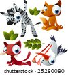 vector yoga animals set 181: zebra, fox, cat, stork - stock vector