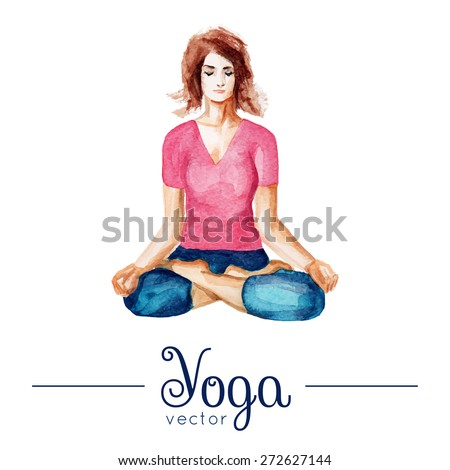 Vector yoga illustration. Girl in yoga pose. Illustration with watercolor texture. Poster for yoga class, yoga studio, fitness center. Illustration for magazines, for t-shirts, advertising, websites. - stock vector