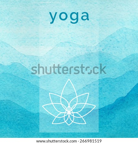 Vector Yoga Illustration Poster For Class With A Nature Backdrop Linear Icon