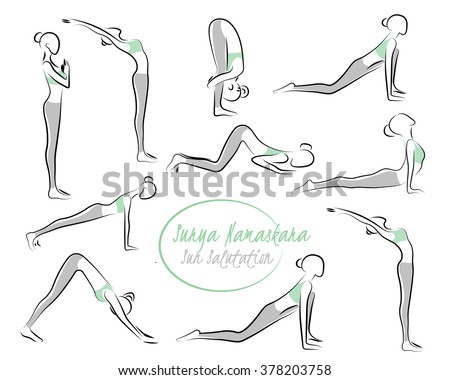 young woman doing morning stretches stock vector 47849617