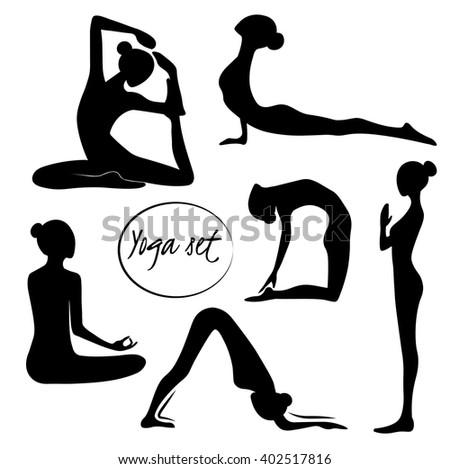 Vector yoga illustration yoga set women yoga yoga class yoga center