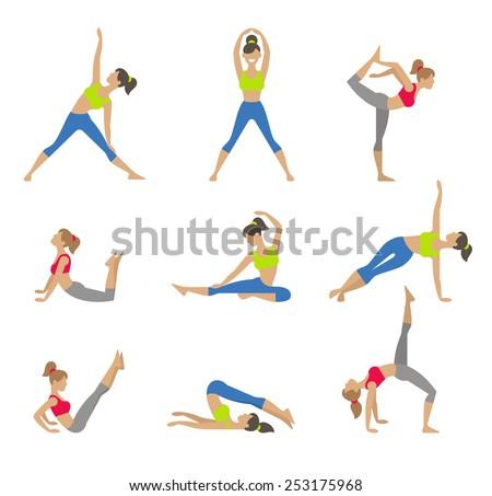 Vector yoga illustration. Yoga set. Yoga exercises. Women yoga. Yoga class, yoga center, yoga studio. Yoga poster. Sketch with yoga asana. Girl does yoga exercises. Healthy lifestyle. - stock vector