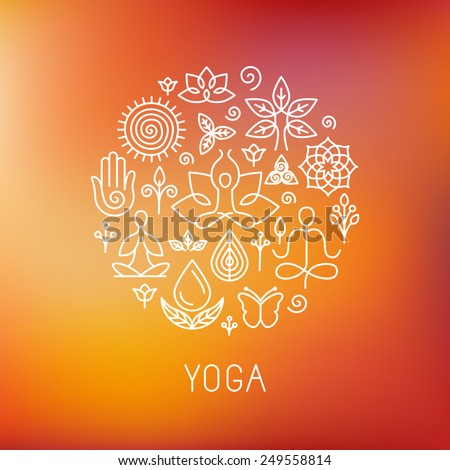 Vector yoga logo - icons and line badges - graphic design elements in outline style for spa center or yoga studio - stock vector