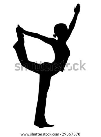 vector yoga silhouette 7 - stock vector