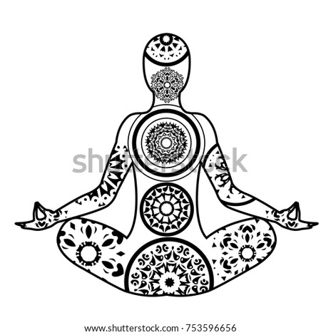 Vector Yoga Theme Illustrations Including Meditation Pose Mandala Lotus Flower And Paisley Ornament