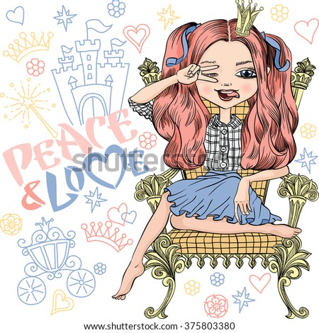 Vector young fashionable girl princess makes peace sign hands, smiles a happy smile and showing tongue, sitting on the royal throne. T-shirt Graphics. Girl print. - stock vector