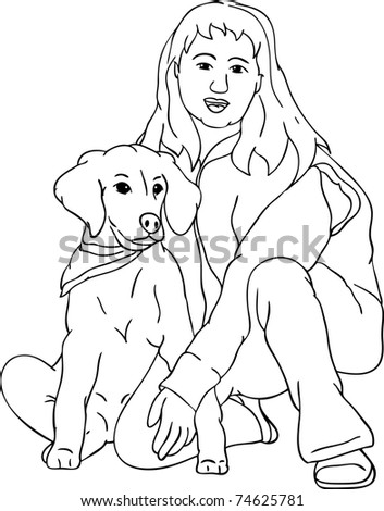 vector - young girl with her puppy golden Retriever