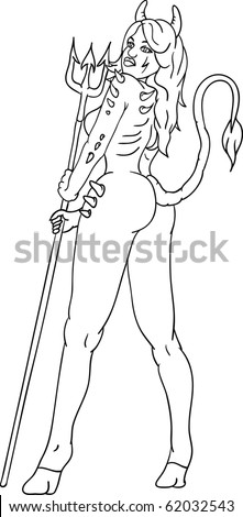 vector -  young sexy devil woman with  trident - stock vector