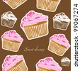 Vector yummy cupcake seamless on brown background - stock photo