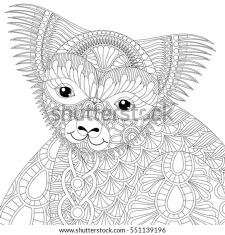 Vector Zentangle Happy Friendly Koala For Adult Anti Stress Coloring Page Book Australian Marsupial