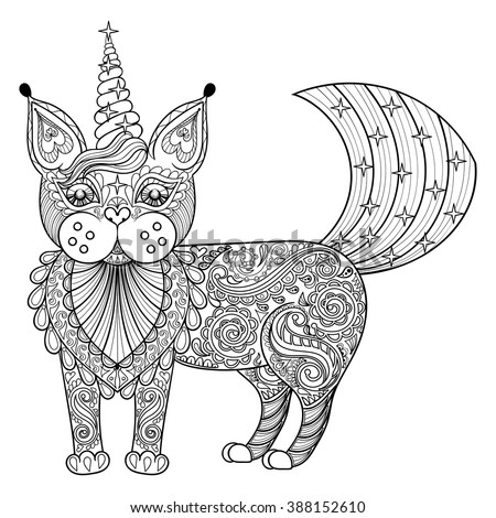 Vector zentangle magic cat unicorn, black print for adult anti stress coloring page. Hand drawn artistically ethnic ornamental patterned illustration. Animal collection. - stock vector