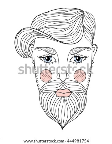 vector zentangle portrait of man face with mustache and beard for adult coloring pages tattoo - Mustache Coloring Pages