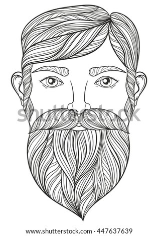 Vector Zentangle Portrait Man Mustache Beard Stock Vector ...