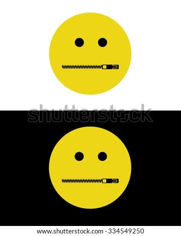 Vector Zipper Mouth Emoticon - stock vector