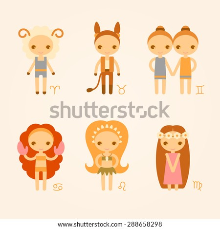 vector zodiac signs aries, taurus, gemini, cancer, leo, virgo - stock vector