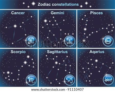Vector zodiacal constellations - stock vector