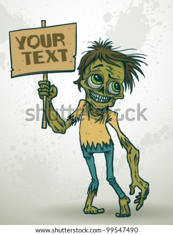 vector zombie with a banner - stock vector